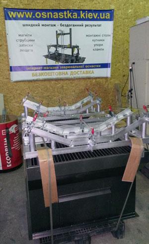Сварочный стол Фрониус с оснасткой (сборочно-сварочный кондуктор) от КБ Роботикс Инженерия